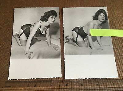 2 x c1960s B&W PHOTO.WOMAN ON BED,ALL FOURS STOCKINGS,PANTIES.SHOES