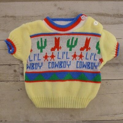 Vintage 1970s Childwise Baby Sweater Sz 0-6mos Lil Cowboy Short Sleeve