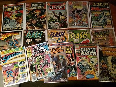 VINTAGE LOT OF 16 GOLDEN SILVER Modern AGE COMICS FLASH SUPERMAN BATMAN GHOST