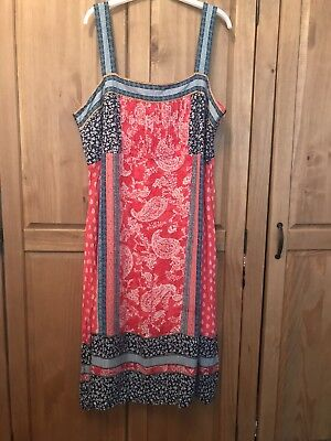 Beautiful Red & Blue Monsoon Dress, Size 22