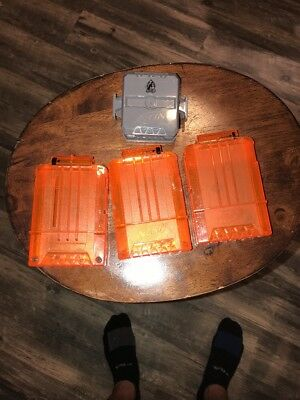 Lot 3 Nerf Elite Clear Front Orange 6 Round Dart Gun Magazine Clips Hail-Fire