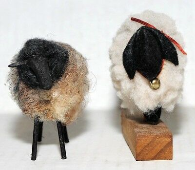 """Collectible Sheep Figures Vintage Scandinavian Wooly Fabric Covered 3"""" Lot of 2"""