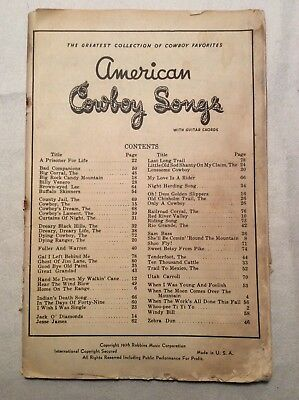 1936 American Cowboy Songs Booklet Robbins ,Music and Guitar Chords, 80 pp