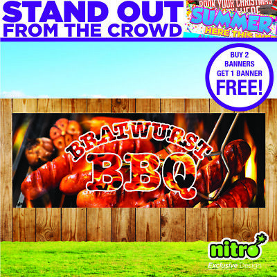 Bratwurst BBQ PVC Banner Outdoor Event Barbecue Catering Unit Ready 2 Hang