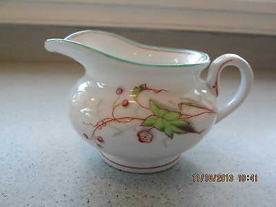 Shabby Cottage Romantic Chic Creamer Teal Trim Leaves  Hand Painted Floral