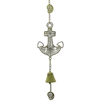 Anchor Wind Bell / Nautical Wind Chime — Cast Iron Coastal Decor in Rustic Green