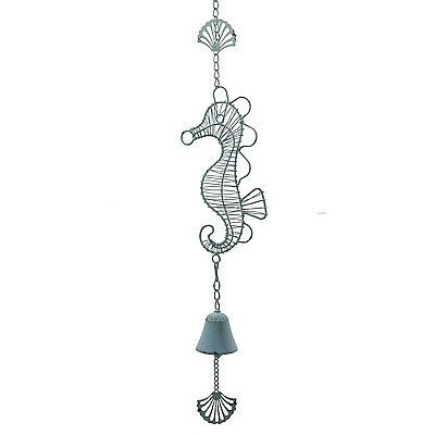 Seahorse Wind Bell / Beach Wind Chime — Cast Iron Coastal Decor in Rustic Blue