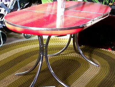 1950's OVAL kitchen dining table (red formica & chrome w/ leaf) VINTAGE