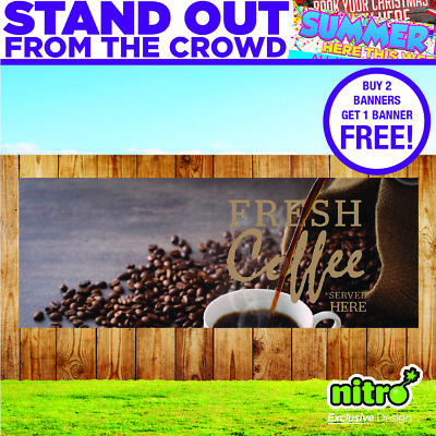 Fresh Coffee Served Here PVC Banner Outdoor Coffee Shops Ready 2 Hang