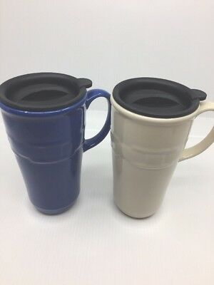 Longaberger Pottery Woven Tradition 2 Tall Travel Mugs, Lid Ivory Blue Coffee
