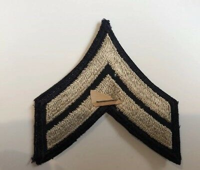 Original US ARMY WW2 CORPORAL RANK PATCH Pair Twill CHEVRONS, NOS