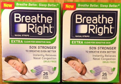 52 BREATHE RIGHT Nasal Strips EXTRA CLEAR Adult Size Nose Stop Snoring Breath