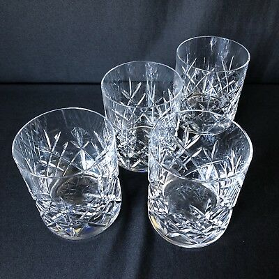 Set Of Four Cut Crystal Whisky Tumblers