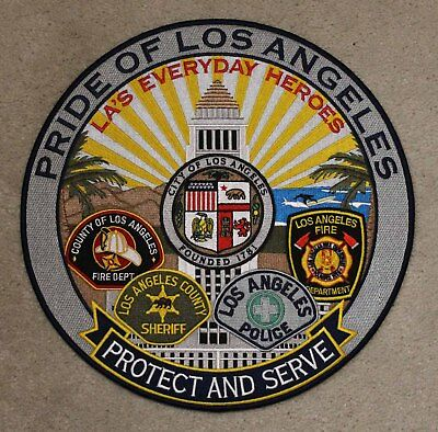 Pride Of Los Angeles Fire Dept Police Sheriff Protect - Iron On Patch W01