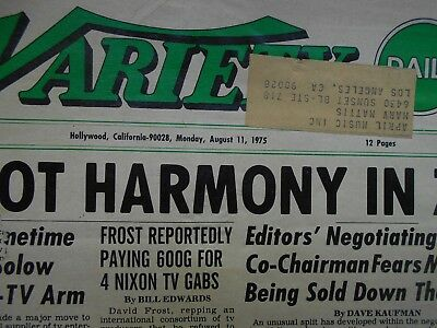 DAILY VARIETY 1975 ….Two complete issues with Jaws box office take and ad