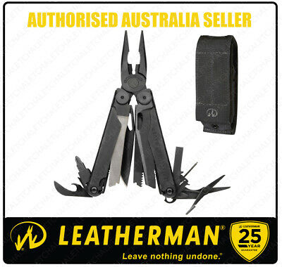 Leatherman Black Oxide WAVE MultiTool + Molle Sheath + Spartan Red