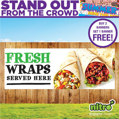 Fresh Wraps Served Here Banner Outdoor Event Barbecue Catering Unit Ready 2 Hang