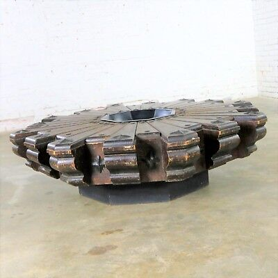 Vintage Spanish Revival Style Rustic Octagon Pinwheel Large Coffee Table Artes D