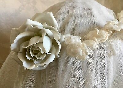 Lovely Antique 19thC French Wedding Crown Tiara Porcelain & Lace Netting Roses