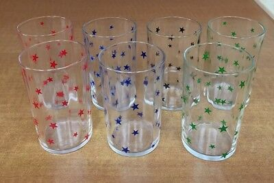7 Vintage SWANKY SWIG GLASSES -Blue Red Green Black Stars Design 3 1/2 Inches