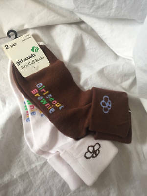 NWT 2 pair GIRL SCOUT BROWNIE Turn-Cuff SOCKS Shoe size 3-10 sock size 9-11 P724