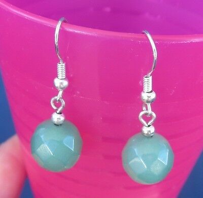 "Jade Glass Pierced Earrings Mexican Hanging Faceted Beads ""Sage Green"" New"