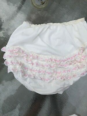 RUFFLED FRILLY LACY WHITE/ PINK 1970s Vintage RHUMBA PANTIES PANTY