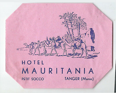 Hotel Mauritania TANGER Morocco - vintage luggage label