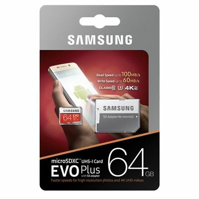 Samsung Evo Plus 64GB Class10 Memory Card Micro SD SDXC 100MB/s UHS-3 Adapter
