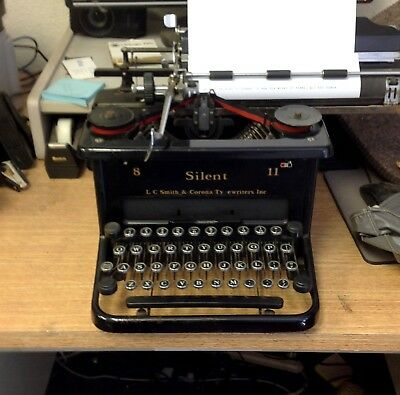 Vintage LC Smith & Corona Typewriter Silent 8 11 Tested Works w Operating Manual