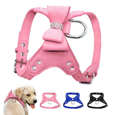 Suede Leather Dog Harness Rhinestone Bow Tie Bling Diamante Crystal Pet Puppy UK