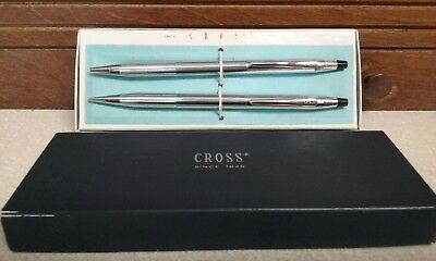 VINTAGE CROSS CHROME PEN and PENCIL SET with Box MODEL 3501
