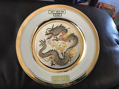 Vintage Chokin Art Collection Limited Ed Chinese Dragon Plate