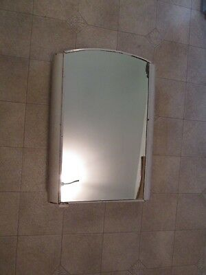 Antique Vintage White Metal Art Deco Medicine Wall Cabinet w/Mirror and 3 Shelve