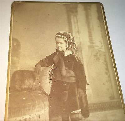 Antique Victorian American Beautiful Child, Winter Fashion New England CDV Photo