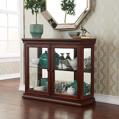 Wooden Glass Display Case Durable Vintage Stand Cabinet Curio Mirrored Shelves