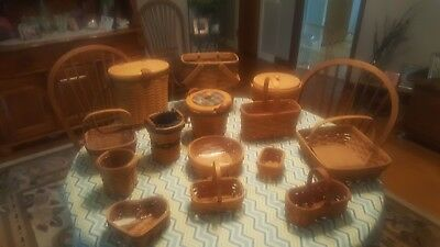 Longaberger baskets.  All are retired and a variety of sizes lot of 14 baskets.