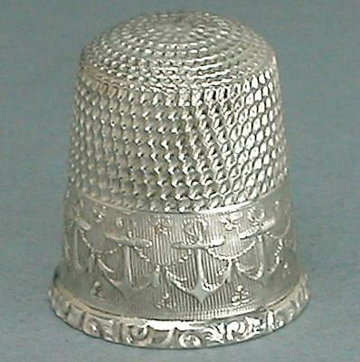 Antique Sterling Silver Anchors Band Thimble by Waite, Thresher Co * Circa 1890s