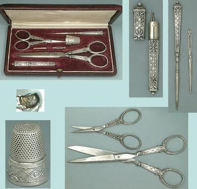 Antique Leather Cased French Silver Sewing Set * Circa 1900s