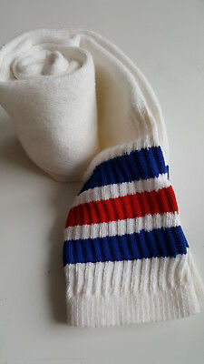 Vtg. Striped Over the Calf Tube / Athletic Socks, White w/ Red & Blue Stripes VG