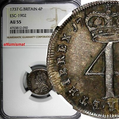 Great Britain George II Silver 1737 4 Pence NGC AU55 Toning. TOP GRADED KM# 570