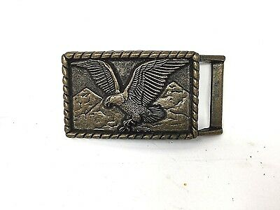 Vintage belt buckle with American Eagle and rope design brass