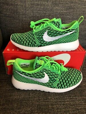 100% authentic be201 33062 Nike Women s Roshe One Flyknit Voltage Green White 704927-305 Size 5.5 NEW