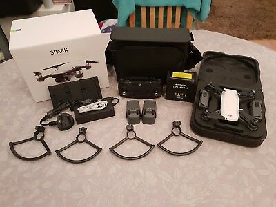 DJI Spark Fly More Combo Alpine White With 4 Batteries Excellent Condition