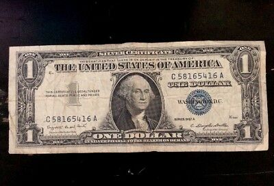 1957-A UNITED STATES SILVER CERTIFICATE $1 Blue Mark! Free Shipping