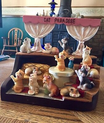 CAT PARADISE ~ 12 CATS With Stand ~ Resin