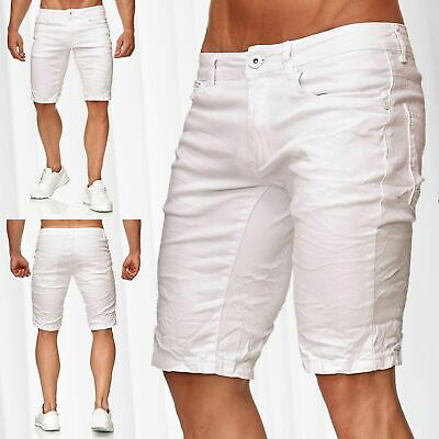 475f29b4d866 Men s Bermuda Shorts Light Stretch Jeans Regular Capri Pants White Denim  Summer