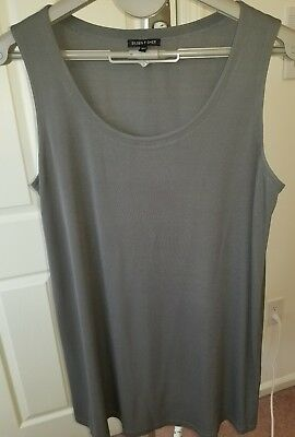 Eileen Fisher L 100% Silk Grey Tunic Top Shirt Sleeveless Long