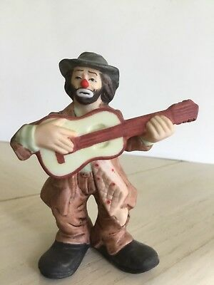 Emmett Kelly Jr Clown Boxed Figurine Playing Guitar Flambro Collectible 4 1/4""