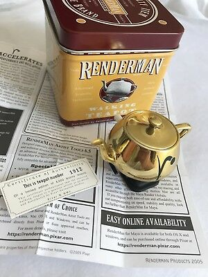 Pixar Renderman Walking Teapot LE Bronze Wind-Up Siggraph 2005 #1912 RARE